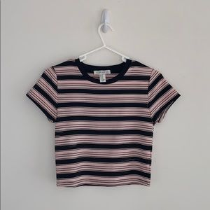 Light Pink and Black Striped Crop Top